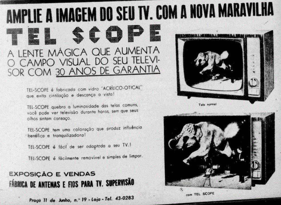 Propaganda antiga de amplificador de imagens para aparelhos de TV em 1966