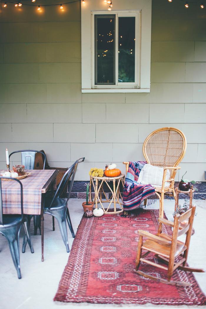 vintage Kilim runner rug on bohemian outdoor patio