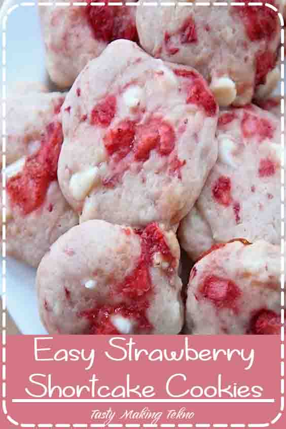 Old-fashioned strawberry shortcake in cookie form! An easy, one-bowl recipe that's full of strawberries!