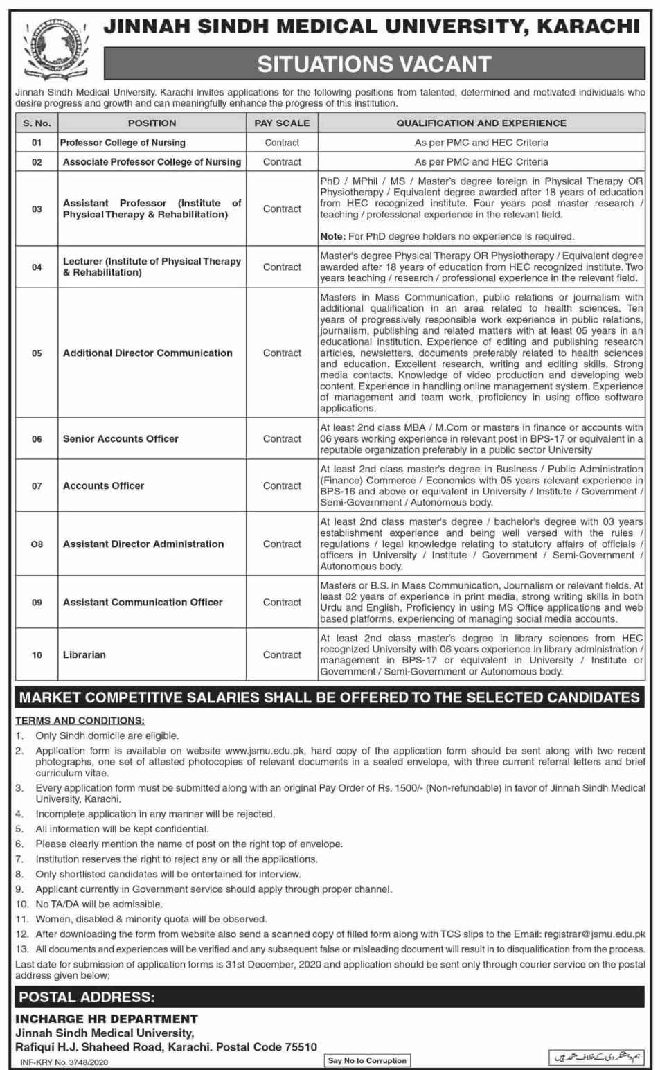 Jinnah Sindh Medical University JSMU Karachi Jobs 2021 Assistant Communication Officer, Librarian, Professor Nursing and more