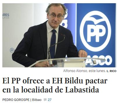 Foto de Alfonso Alonso y titular: El PP ofrece a EH Bildu pactar en la localidad de Labastida