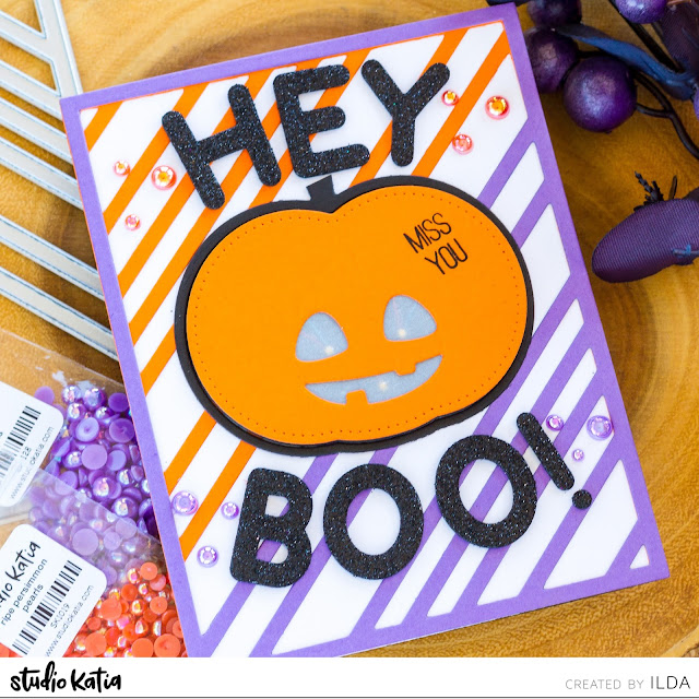 Halloween, Light Up, EZ-Light Pack, Interactive Card, miss you, pumpkin,Studio Katia,Chunky Alphabet, Card Making, Stamping, Die Cutting, handmade card, ilovedoingallthingscrafty, Stamps, how to,
