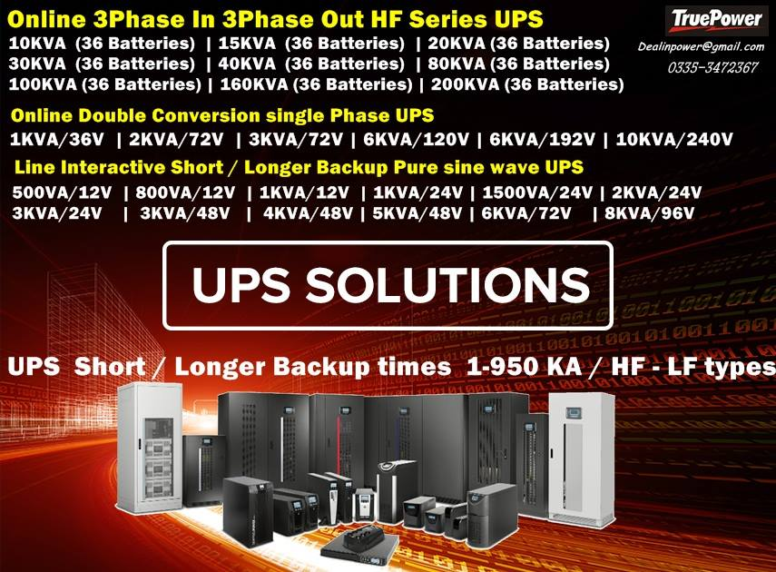 Price Online UPS Single Phase / Three Phase 1-200KVA