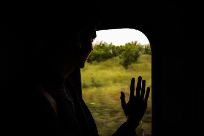 شاب يقف على نافذة القطار وهو يضعويده عليها