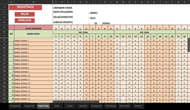 Aplikasi Analisis Soal PG dan Isian dengan Microsoft Excel