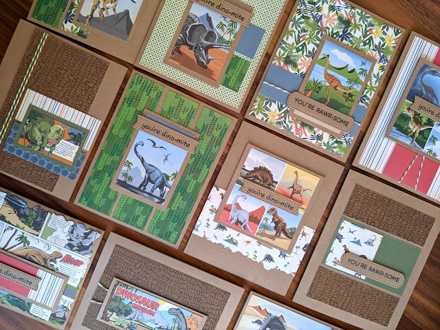 Cards made with Carta Bella Dinosaur 6x6 Paper Pad by Jess Crafts