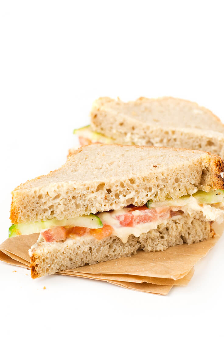 Vegan Hummus Sandwich: Making vegan sandwiches is a breeze. I like to include some fat or vegetable pate to be juicier and raw or cooked vegetables.