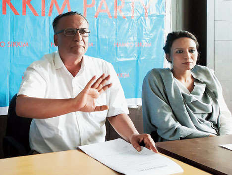 Hamro Sikkim Party spokesman Biraj Adhikari (left) and vice-president Bina Basnet