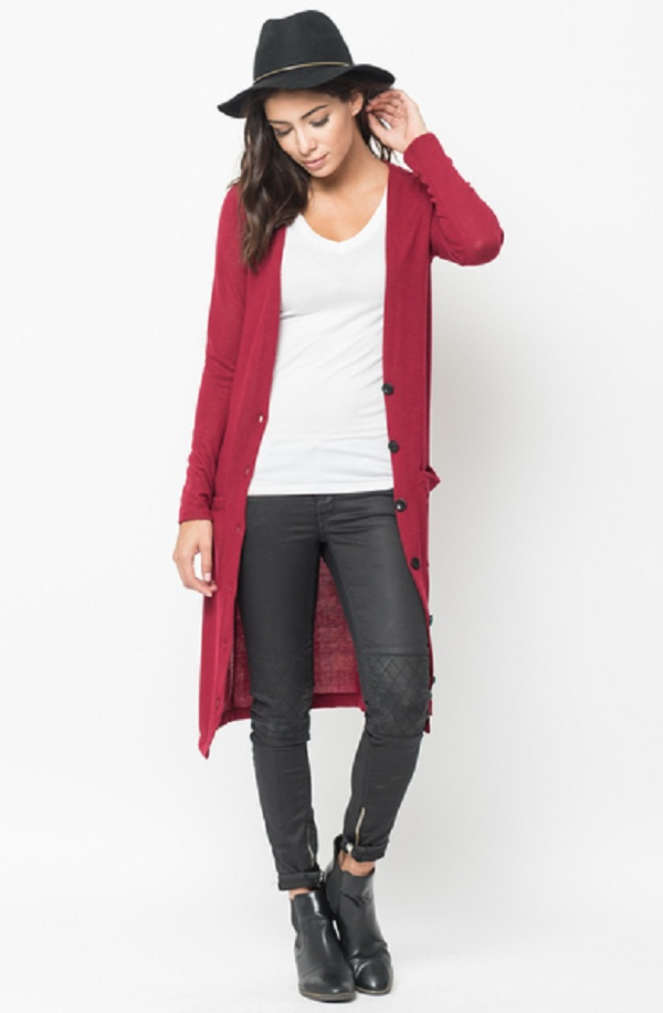 red maxi cardigan