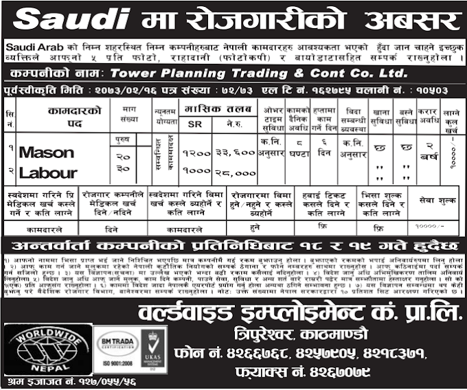 Free Visa, Free Ticket, Jobs For Nepali In Saudi Arabia, Salary -Rs.33,000/