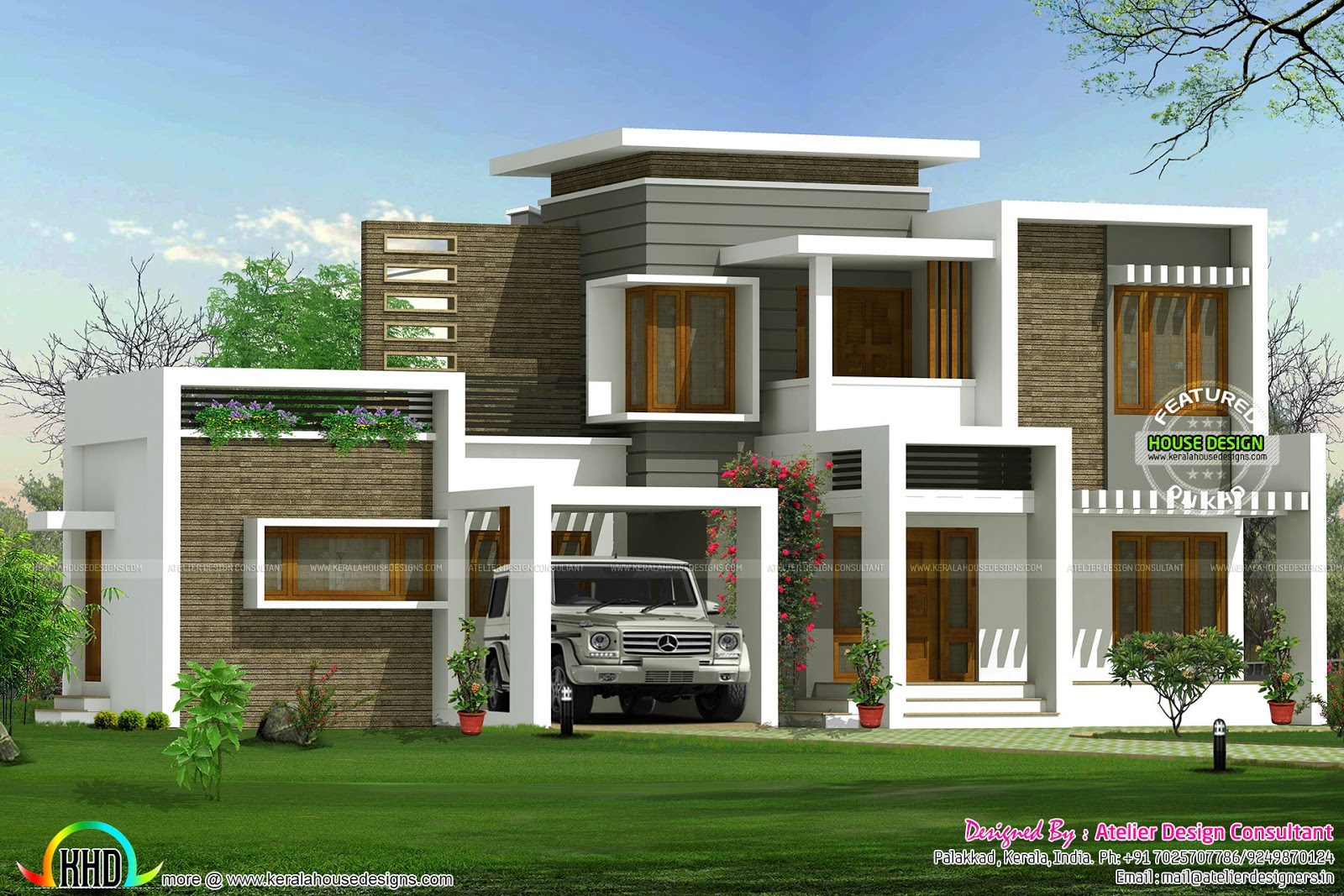 Beautiful box type contemporary home kerala home design for Contemporary style home plans