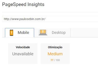 Exemplo de análise e velocidade de carregamento Google Page Speed Insights