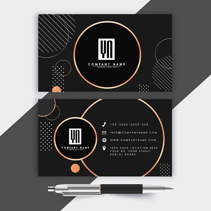 Business cards, best business cards template elegant luxury dark circles decor Free vector