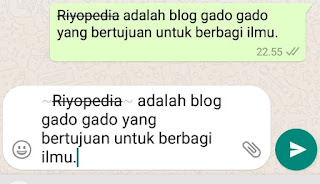 Membuat garis coret tengah huruf (Strikethrough) di WA
