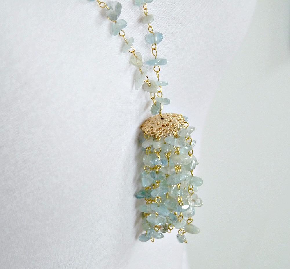 Easy DIY Beaded Aquamarine Chip Tassel Necklace