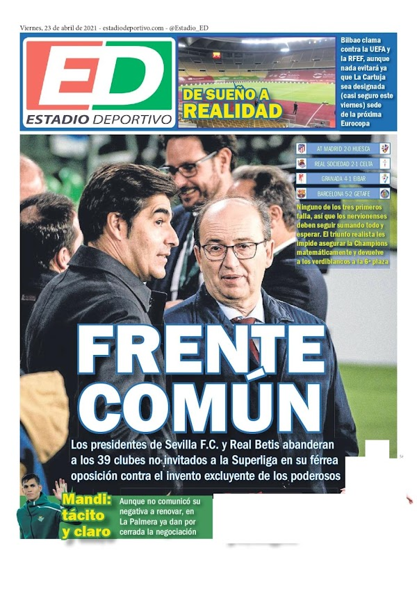 "Betis, Estadio Deportivo: ""Frente común"""