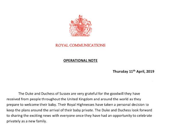 Informacje na temat Baby Sussex od Pałacu Buckingham