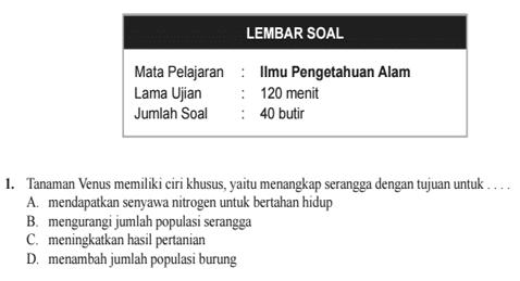 Soal Tryout Ujian Sekolah dan Madrasah Jenjang SD/MI