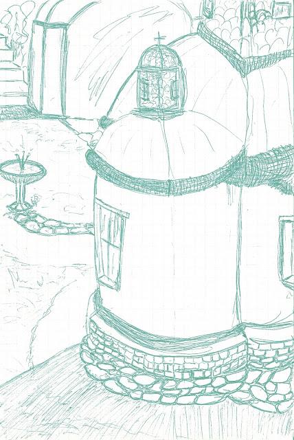 Ι. Μ. Μεγίστης Λαύρας - Πίσω από το Ιερόν 2 - Σχέδιο με στυλό μελάνης, ψηφιακά επεξεργασμένο από τον Στράτο