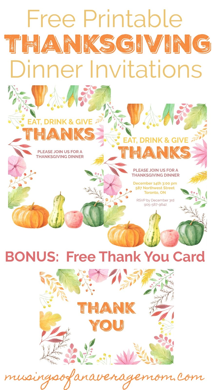 image regarding Printable Thanksgiving Invitations called Musings of an Ordinary Mother: Thanksgiving Invites