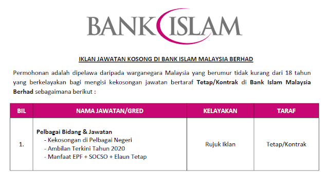 jawatan kosong bank islam malaysia berhad 2020