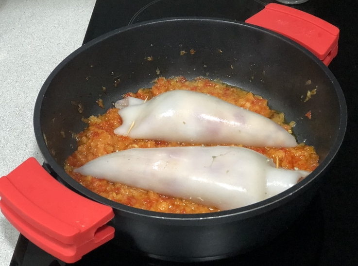 Calamares rellenos de pollo