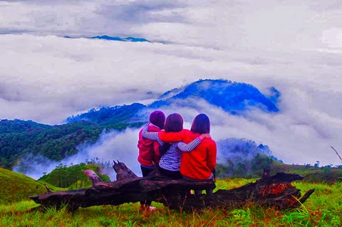 Friends admiring the sea of clouds at Mt. Ugo summit hover_share