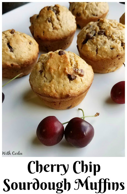 These muffins are loaded with the good stuff. They are a perfect way to turn sourdough discard into a delicious breakfast.  The oatmeal practically melts into the batter, but the chocolate and  cherries don't, their flavor pops! Your morning will be much better with one of these on the menu!
