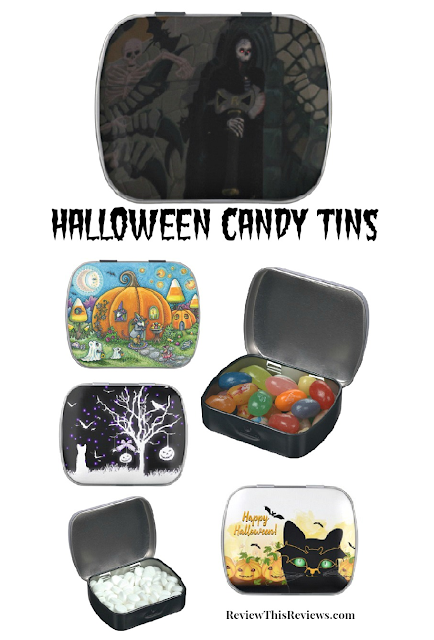 Halloween Pocket Size Candy Tins Filled with Jelly Beans