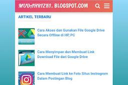 Cara Membuat Widget Postingan Terbaru dengan Gambar di Blog