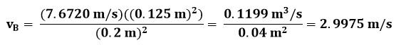 Cálculo de velocidad en el punto B del ejemplo 2