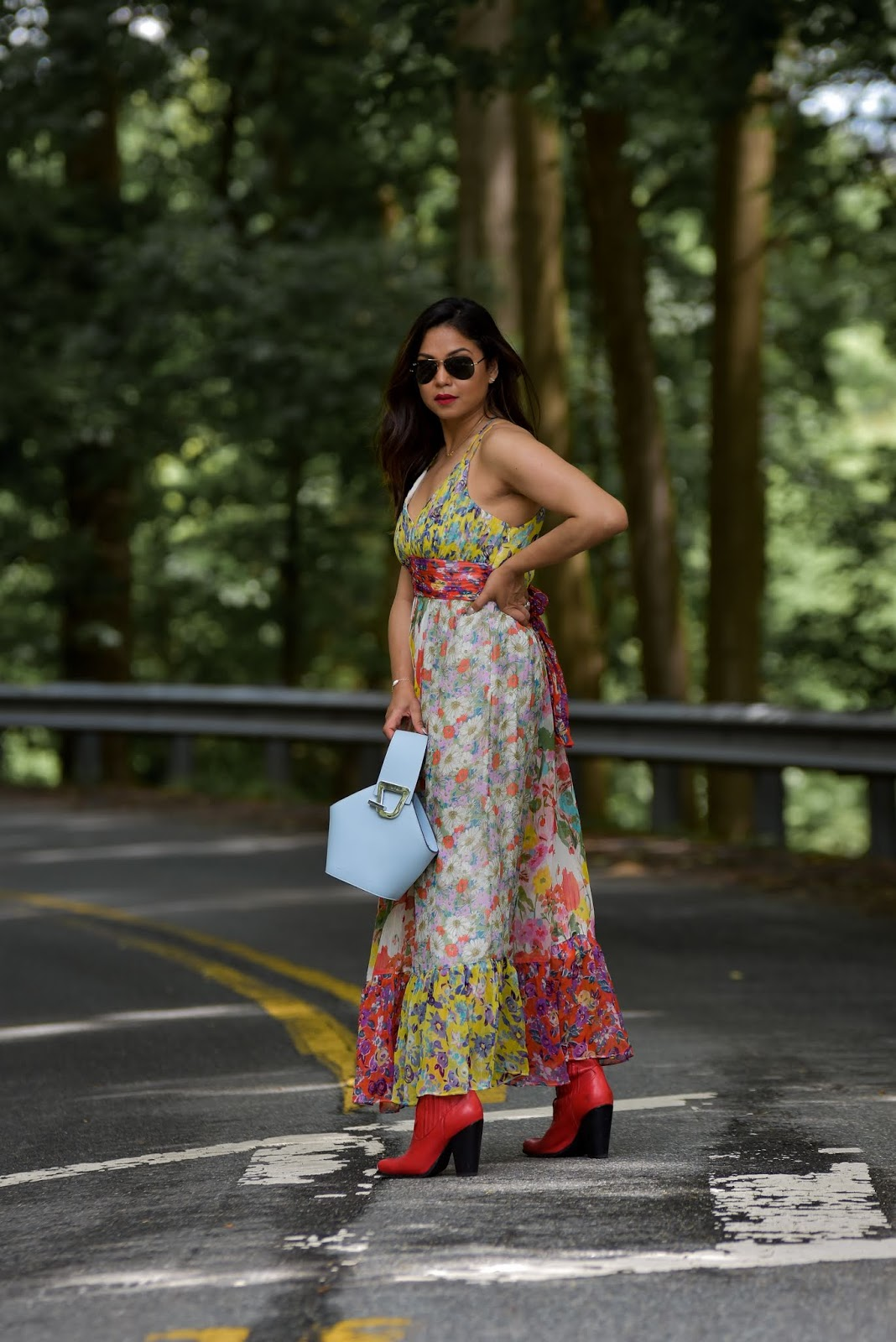 summer maxi dress, red cowboy boots, fashion blogger, anthropologie maxi dress, halter dress, bra to wear with a halter dress, summer outfit, wedding look, saumya shiohare