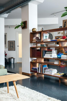 Mid-century bookcases as room divider