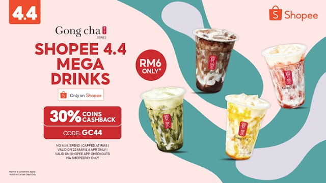 Shopee x Gong Cha Best Sellers 4.4 Mega Shopping Day, Shopee 4.4 Mega Shopping Day, Gong Cha Best Sellers, Gong Cha Marble Series, Food