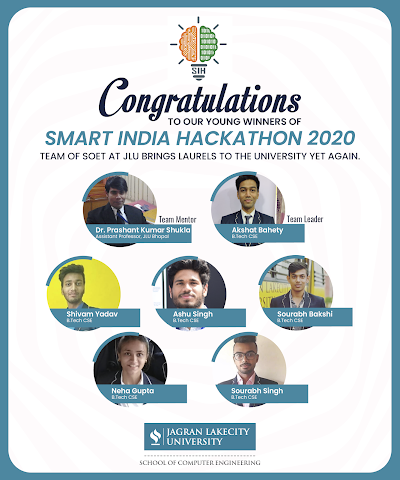 JLU-School Of Engineering And Technology Wins The First Prize At Smart India Hackathon 2020
