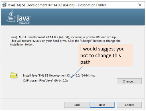 Step 2 of the JDK installer wizard