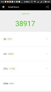 Xiaomi Redmi 3x - skor benchmark Antutu dalam kondisi banyak apikasi terbuka