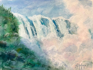 Niagara Falls, pastel waterfall, bottom of the falls
