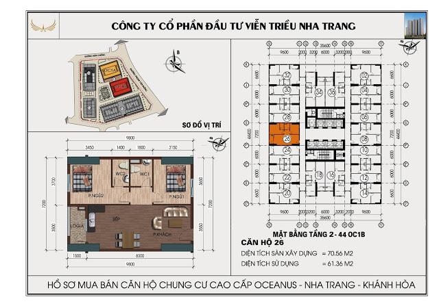 Sơ đồ căn hộ số 26  tòa OC1B Viễn Triều Nha Trang