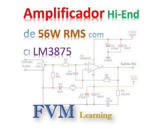 Amplificador Hi-End de 56W RMS com o CI LM3875