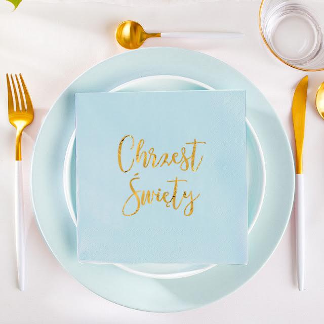 Niebieskie serwetki na Chrzest