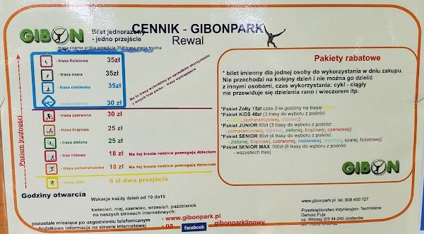 Park Linowy Rewal Cennik