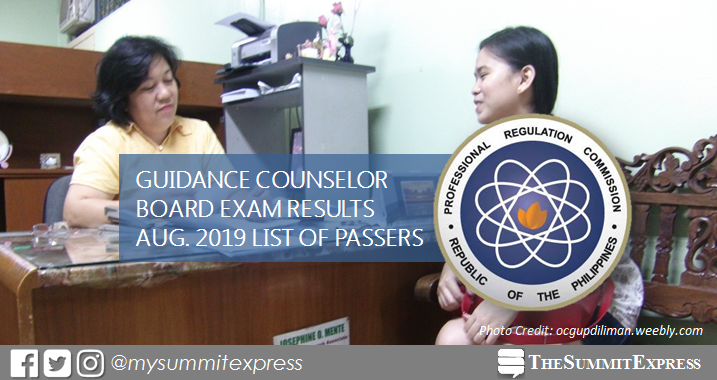 FULL RESULTS: August 2019 Guidance Counselor board exam list of passers, top 10