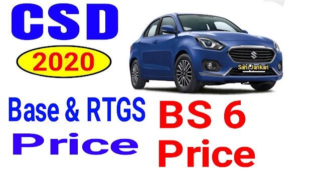 Maruti Suzuki BS6 CSD price list 2020