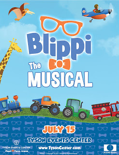 poster for Blippi the Musical live at the Tyson Events Center in Sioux City Iowa on July 15th, 2021