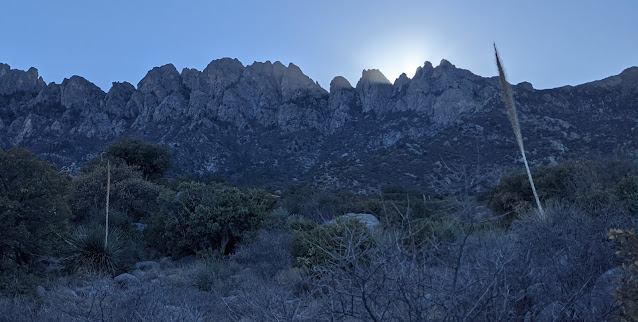 The sun drops behind the Organ Mountains. The sky trends towards a deeper blue as cold air washes over cactus in the foreground