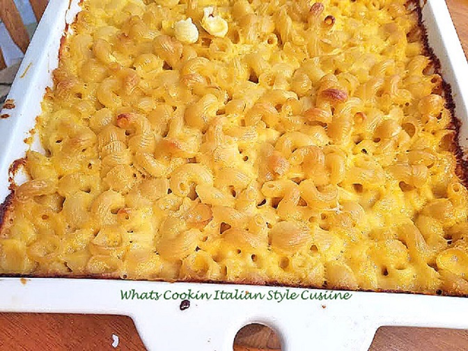 baked mac and cheese with a blend of Italian seasonings