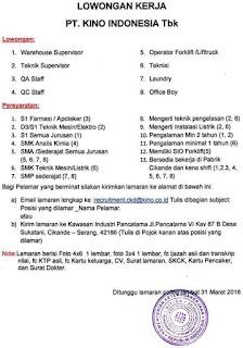 perusahaan PT. Kino Indonesia Tbk cikande