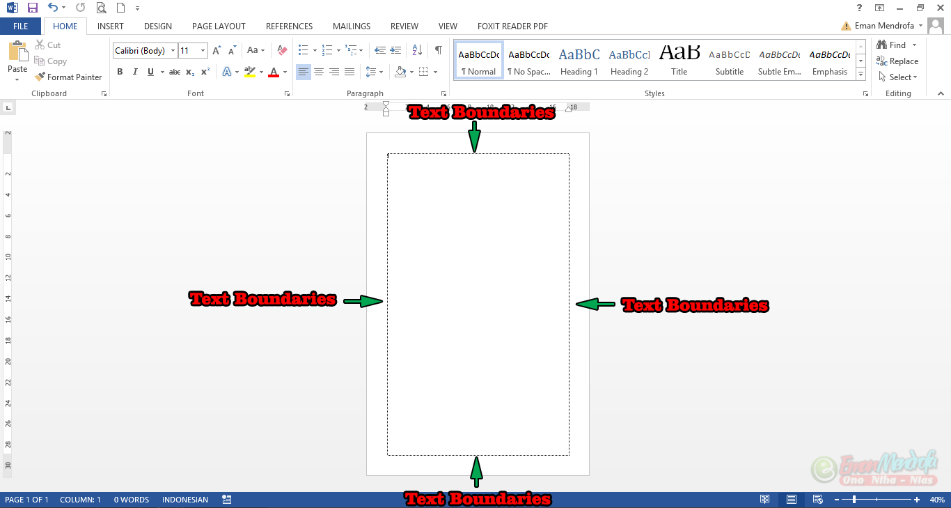 Text Boundaries pada lembar kerja dokumen word