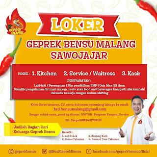 Info Lowongan Kerja Geprek Bensu Malang Sawojajar